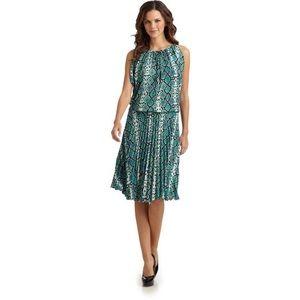 BCBG MAXARIA Lona Light Aqua Snakeprint Dress